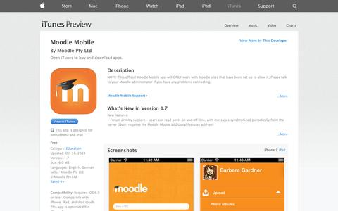 Screenshot of iOS App Page apple.com - Moodle Mobile on the App Store on iTunes - captured Nov. 1, 2014