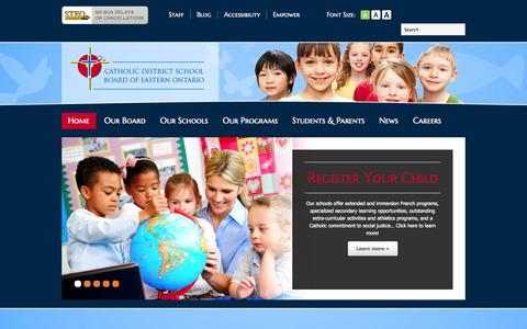 Screenshot of Home Page cdsbeo.on.ca - Catholic District School Board of Eastern Ontario | Catholic District School Board of Eastern Ontario - captured Oct. 7, 2014