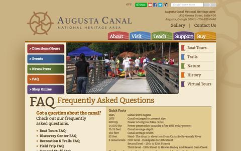 Screenshot of FAQ Page augustacanal.com - Augusta Canal - FAQ - captured Feb. 6, 2016