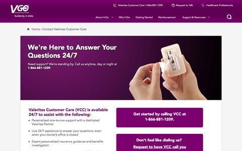 Screenshot of Contact Page go-vgo.com - Contact Valeritas Customer Care | V-Go - captured March 2, 2016