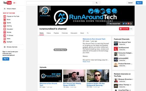 Screenshot of YouTube Page youtube.com - runaroundtech's channel  - YouTube - captured Nov. 2, 2014