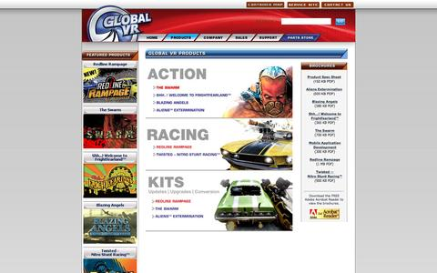 Screenshot of Products Page globalvr.com - .: GLOBAL VR :: Arcade Video Game Products Currently Available :. - captured July 15, 2016