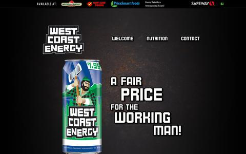 Screenshot of Home Page wcnrg.com - WEST COAST ENERGY | Workers Of The World, Get Your Buzz On, And Get It Done With Canada's Energy Drink - captured March 26, 2016