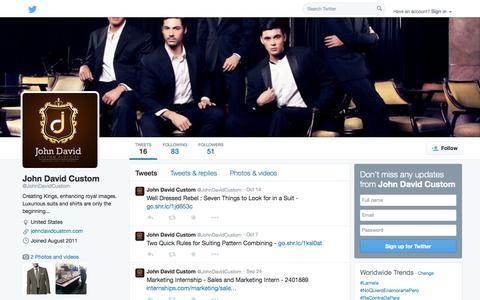 Screenshot of Twitter Page twitter.com - John David Custom (@JohnDavidCustom) | Twitter - captured Oct. 23, 2014