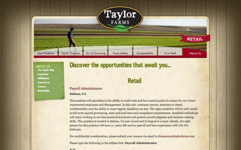 Screenshot of Jobs Page taylorfarms.com - Taylor Farms Retail  | Careers - captured Oct. 9, 2014