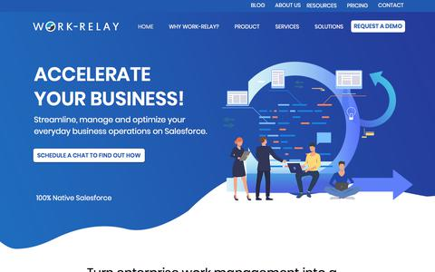 Screenshot of Home Page work-relay.com - HOME | Work Relay - captured Sept. 20, 2019