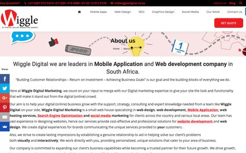 Screenshot of About Page wiggledigital.co.za - Wiggle Digital Marketing and Website Design Company in South Africa - captured Jan. 15, 2019