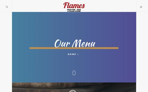 Screenshot of Menu Page lighthoused.com - Our Menu – Flames Woodfired Pizza – 121 Main Street, Elmsford, NY 10523 - captured Sept. 28, 2018