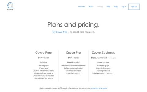 Screenshot of Pricing Page covve.com - Plans and pricing � Covve - captured Jan. 4, 2016