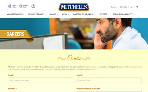 Screenshot of Jobs Page mitchells.com.pk - Careers :Mitchell's Fruit Farms Limited - captured Oct. 20, 2018