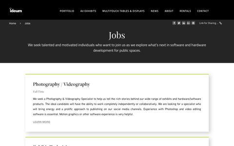 Screenshot of Jobs Page ideum.com - Jobs - Interactive Hardware, Software and Exhibit Development | Ideum - captured Aug. 21, 2018