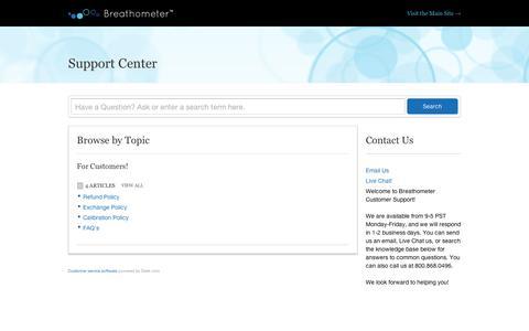 Screenshot of Support Page breathometer.com - Breathometer |    Support Center - captured Sept. 12, 2014