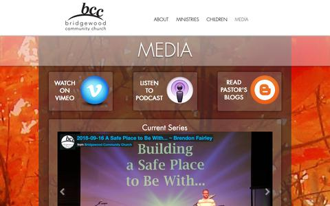 Screenshot of Press Page bridgewoodcc.org - Bridgewood Community Church Blaine MN Building Bridges to Reach and Transform | MEDIA - captured Oct. 6, 2018