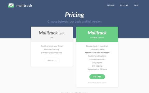 Screenshot of Pricing Page mailtrack.io - Pricing - Mailtrack - captured July 26, 2016