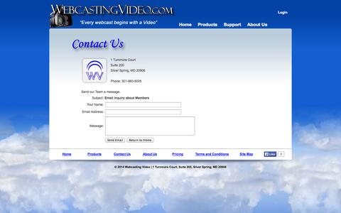 Screenshot of Contact Page Support Page webcastingvideo.com - Live Event Webcasting Hosting Production Services Providers Company - captured Oct. 25, 2014