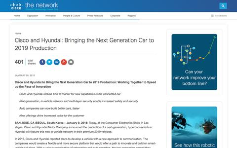 Screenshot of Press Page cisco.com - Cisco & Hyundai Bring the Next Generation Car to 2019 Production | The Network - captured Jan. 20, 2018