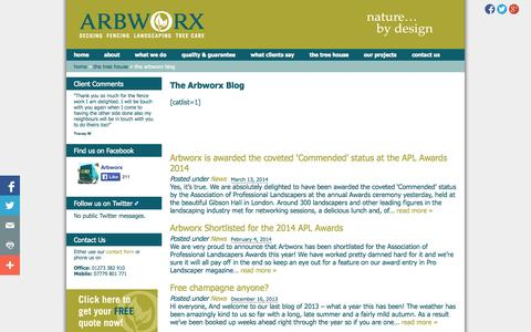 Screenshot of Blog arbworx.com - The Arbworx Blog » 	Arbworx - captured Oct. 4, 2014
