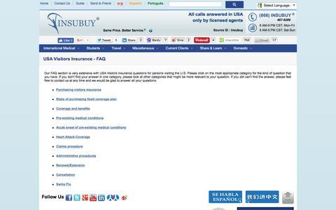 Screenshot of FAQ Page insubuy.com - USA Visitors Insurance - FAQ - captured Aug. 29, 2016