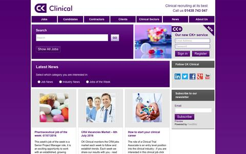 Screenshot of Press Page ckclinical.co.uk - Pharmaceutical job of the week: 07/07/2016   CK Clinical - captured July 9, 2016