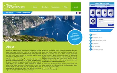 Screenshot of About Page expertours.ca - About - Expertours.ca - captured Oct. 3, 2014