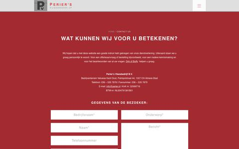Screenshot of Contact Page perier.nl - Contact - Perier's Vleesbedrijf - captured Sept. 27, 2018