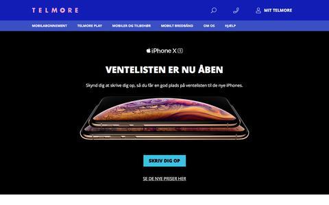 Screenshot of Home Page telmore.dk - Billige mobiltelefoner og mobilabonnementer hos Telmore - captured Sept. 20, 2018