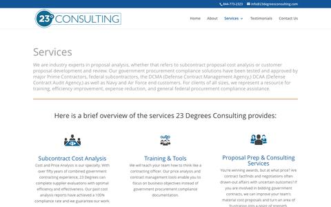 Screenshot of Services Page 23degreesconsulting.com - Services - 23 Degrees Consulting - captured Dec. 21, 2016