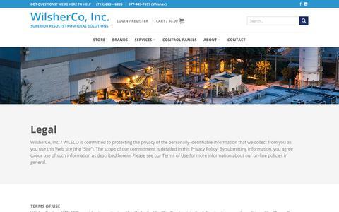 Screenshot of Terms Page wilsherco.com - Legal - WilsherCo, Inc. - captured Nov. 15, 2018