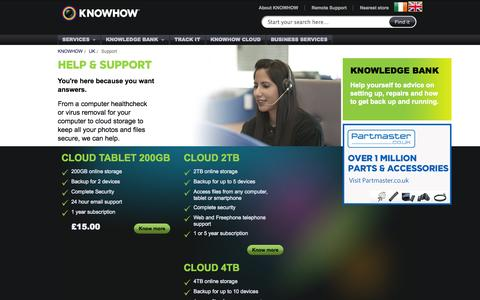 Screenshot of Support Page knowhow.com - KNOWHOW | Support - captured Nov. 3, 2014