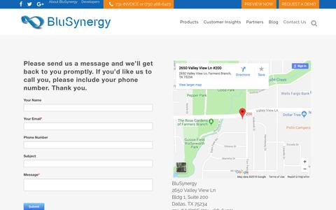 Screenshot of Contact Page blusynergy.com - Subscription Billing System - Automatic Subscription Billing - captured Aug. 2, 2018