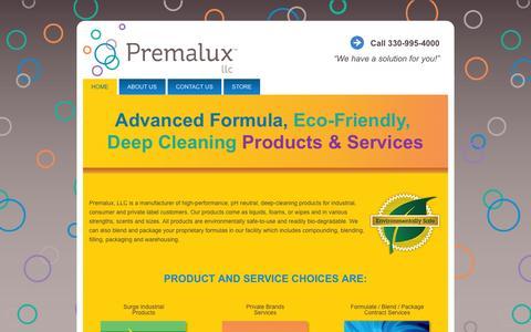 Screenshot of Home Page premalux.com - Premalux, LLC - captured Oct. 2, 2014