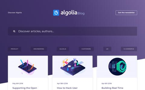 Screenshot of Blog algolia.com - Algolia Blog - Read articles about search, SaaS, APIs, infrastructure and learn about new Algolia features. - captured May 16, 2018