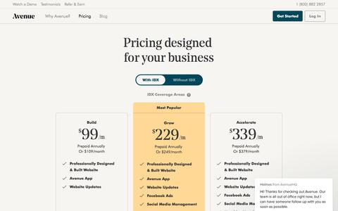 Screenshot of Pricing Page avenuehq.com - Pricing — Avenue: Website and digital marketing for your real estate business - captured July 7, 2019