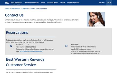 Screenshot of Contact Page bestwestern.com - Contact Australia Office - captured Sept. 23, 2018