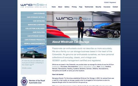 Screenshot of About Page windrushcarstorage.co.uk - Classic Car Storage - Windrush Car Storage - captured Oct. 26, 2014