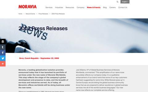 Screenshot of Press Page moravia.com - 2003 Press Releases - Moravia - captured Oct. 3, 2017