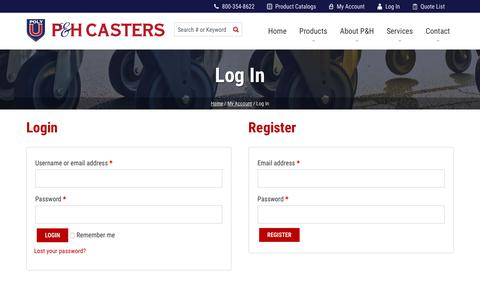 Screenshot of Login Page phcasters.com - Log In   P&H Casters - captured June 16, 2019