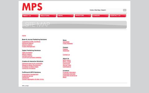 Screenshot of Site Map Page adi-mps.com - MPS | Publishing Solutions | Sitemap - captured Oct. 2, 2014