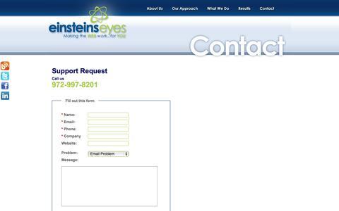 Screenshot of Support Page einsteinseyes.com - Contact support : Einstein's Eyes - captured Oct. 2, 2014