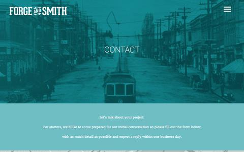 Screenshot of Contact Page forgeandsmith.com - Get a Web Quote - Forge and Smith | Vancouver Web Design Company - captured Sept. 25, 2014