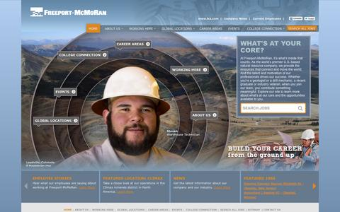 Screenshot of Home Page fmjobs.com - Look Inside | Careers at Freeport-McMoRan - captured Oct. 6, 2014