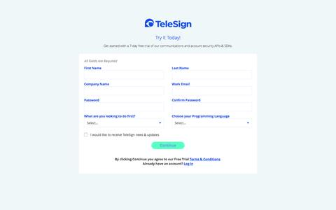 TeleSign Portal - Sign Up