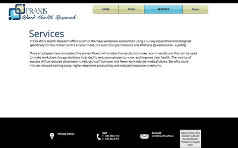 Screenshot of Services Page praxisworkhealthresearch.ca - Praxis Work Health Research Contact Center Services - captured May 19, 2017