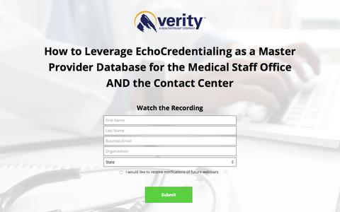 Screenshot of Landing Page healthstream.com - How to Leverage EchoCredentialing as a Master Provider Database for the Medical Staff Office AND the Contact Center - captured Sept. 19, 2018