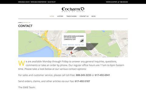 Screenshot of Contact Page enchantedboxes.com - Contact - Enchanted World of Boxes - captured Nov. 8, 2016