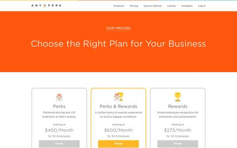 Screenshot of Pricing Page anyperk.com - Our Pricing | AnyPerk - captured May 30, 2016