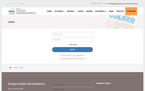 Screenshot of Login Page gruppocolserauroradomus.com - Login - Gruppo Colser AuroraDomus - captured Sept. 30, 2018