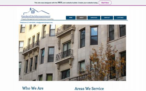 Screenshot of About Page gardencitymgmt.com - Newton MA Property Management and Consulting Firm - captured Sept. 27, 2018