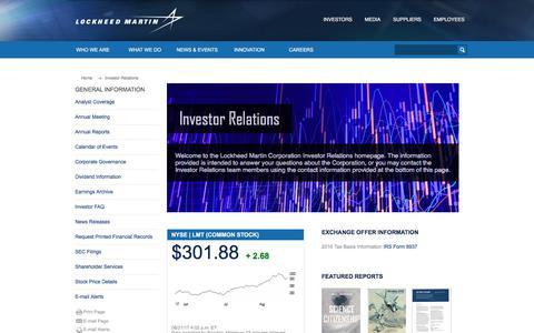 Investor Relations  - Lockheed Martin
