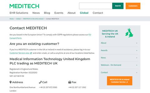 Screenshot of Contact Page meditech.com - Contact MEDITECH    MEDITECH - captured Feb. 20, 2020